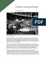 80 Años Del Frente Popular Lecciones Para La España de Hoy. Julián Casanova