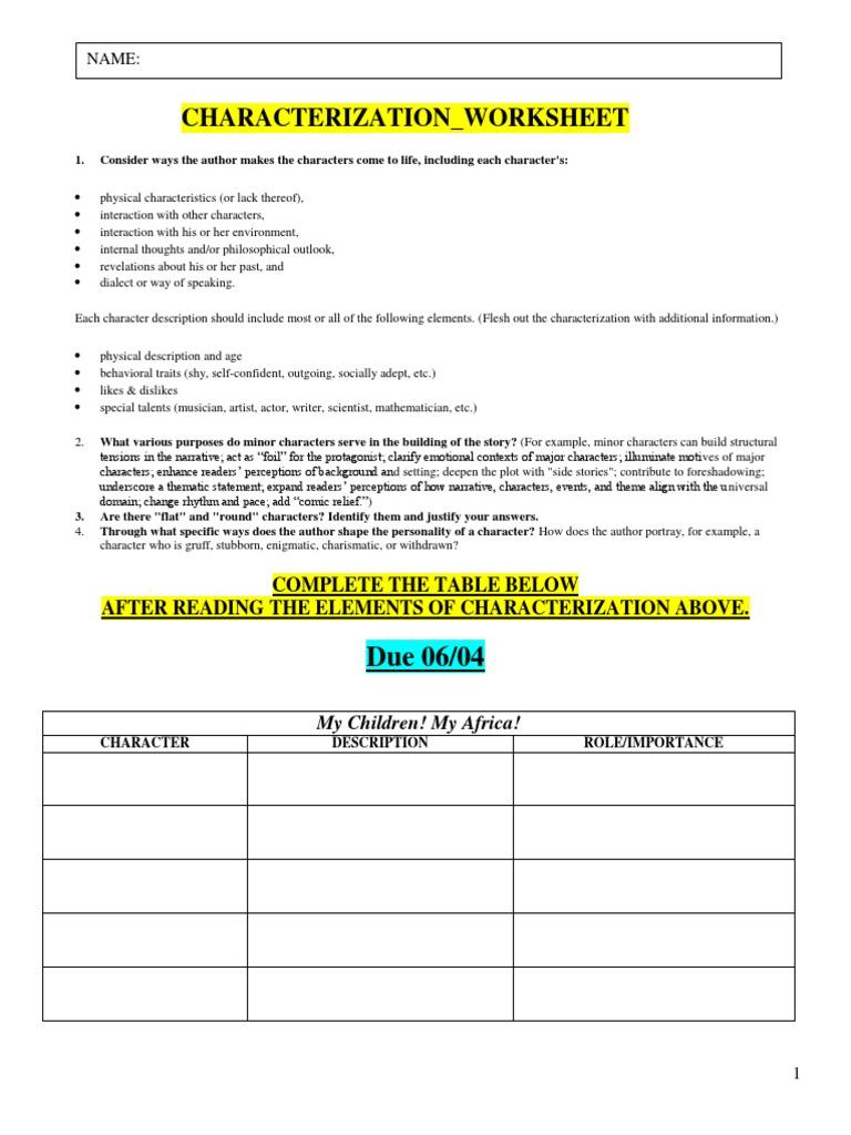 Characterization Worksheet My Children My Africa – Character Analysis Worksheet