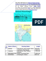 Rivers in India - State Wise PDF Notes for Static Gk Bank Exams