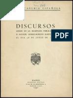 Discurso de Ingreso de Manuel Gómez-Moreno Martínez a la Real Academia de la Historia, 1942
