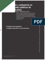 Rodriguez J G Evaluacion y Autonomia en Las Universidades Públicas de a L