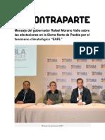 07-08-2016 Contraparte - Mensaje Del Gobernador Rafael Moreno Valle Sobre Las Afectaciones en La Sierra Norte de Puebla Por El Fenómeno Climatológico