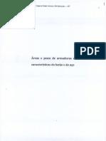 Áreas e Pesos de Armaduras e característcias do Betão e do Aço - IST