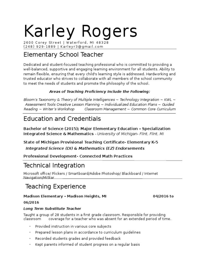 resume | Teachers | Classroom Management