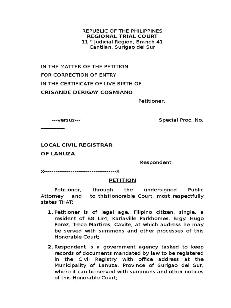 Petition For Correctionof Entry In The Certificate Of Live Birth