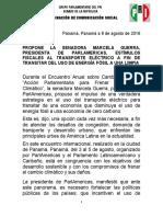 08-08-16 Boletín Senadora Marcela Guerra, Uso de Transporte Eléctrico.