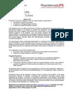 Residential Tutor Application