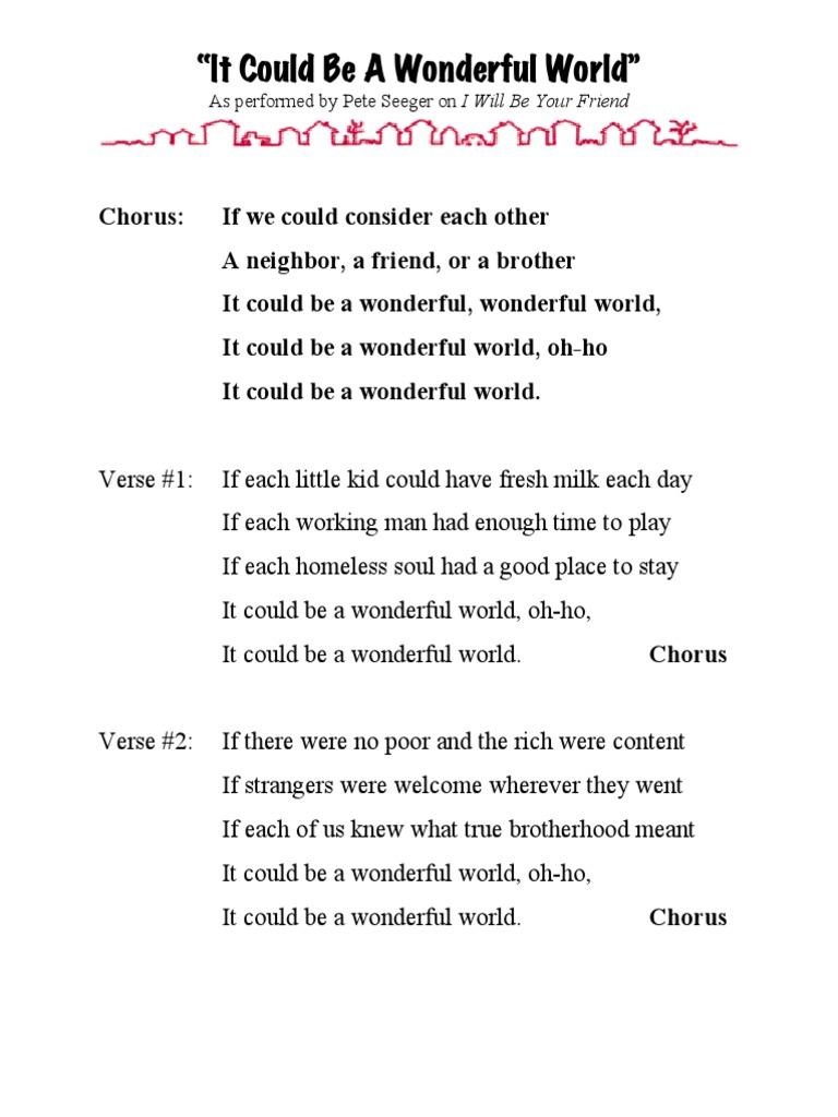Could Be Wonderful World Lyricsonly