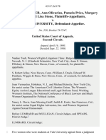 Ronni Alexander, Ann Olivarius, Pamela Price, Margery Reifler and Lisa Stone v. Yale University, 631 F.2d 178, 2d Cir. (1980)
