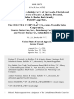 Helen J. Rados, as Administratrix of the Goods, Chattels and Credits Which Were of Stanley A. Rados, Deceased, and Helen J. Rados, Individually v. The Celotex Corporation, Johns-Manville Sales Corporation, Unarco Industries, Inc., Armstrong Cork Company and Nicolet Industries, 809 F.2d 170, 2d Cir. (1987)