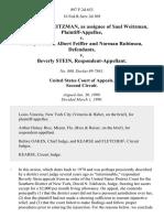 Carole Heller Weitzman, as Assignee of Saul Weitzman v. Sidney Stein, Albert Feiffer and Norman Rubinson v. Beverly Stein, 897 F.2d 653, 2d Cir. (1990)