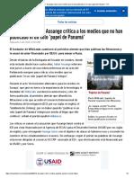 _Miedo Al Litigio__ Assange Critica a Los Medios Que No Han Publicado Ni Un Solo 'Papel de Panamá' - RT