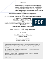 Glenda Sue Brewer v. State Farm Mutual Automobile Insurance Company, & Third Party and Safeco Insurance Company of America the Western Pennsylvania Hospital v. Paul Fravel, Third Party, 7 F.3d 222, 3rd Cir. (1993)