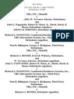 Tbg, Inc. v. Richard A. Bendis, W. Terrance Schreier, and John G. Pappajohn, Robert H. Mann, Jr., Shook, Hardy & Bacon, Ernst & Whinney v. Richard S. Masinton, Continental Healthcare Systems, Inc., Tbg Information Systems, Inc., Third-Party and Paul R. Billington, George A. Bridgmon, Third-Party Tbg, Inc. v. Richard A. Bendis, Ernst & Whinney, and W. Terrance Schreier, John G. Pappajohn, Robert H. Mann, Jr., Shook, Hardy & Bacon v. Richard S. Masinton, Continental Healthcare Systems, Inc., Tbg Information Systems, Inc., Third-Party and Paul R. Billington, George A. Bridgmon, Third-Party Tbg, Inc. v. Richard A. Bendis, and John G. Pappajohn, Robert H. Mann, Jr., Shook, Hardy & Bacon, W. Terrance Schreier, Ernst & Whinney v. Richard S. Masinton, Continental Healthcare Systems, Inc., Tbg Information Systems, Inc., Third-Party and Paul R. Billington, George A. Bridgmon, Third-Party, 36 F.3d 916, 3rd Cir. (1994)