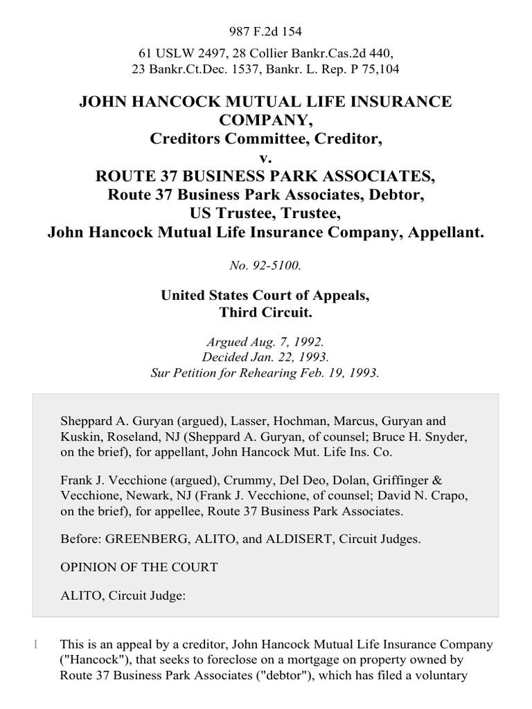 John Hancock Mutual Life Insurance Company, Creditors ...