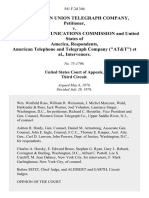 """The Western Union Telegraph Company v. Federal Communications Commission and United States of America, American Telephone and Telegraph Company (""""At&t""""), Intervenors, 541 F.2d 346, 3rd Cir. (1976)"""