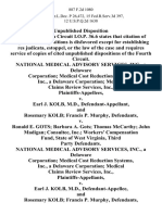 National Medical Advisory Services, Inc., a Delaware Corporation Medical Cost Reduction Systems, Inc., a Delaware Corporation Medical Claims Review Services, Inc. v. Earl J. Kolb, M.D., and Rosemary Kolb Francis P. Murphy v. Ronald E. Gots Barbara A. Gots Thomas McCarthy John Madigan Consultec, Inc. Workers' Compensation Fund, State of West Virginia, Third Party National Medical Advisory Services, Inc., a Delaware Corporation Medical Cost Reduction Systems, Inc., a Delaware Corporation Medical Claims Review Services, Inc. v. Earl J. Kolb, M.D., and Rosemary Kolb Francis P. Murphy v. Ronald E. Gots Barbara A. Gots Thomas McCarthy John Madigan Consultec, Inc. Workers' Compensation Fund, State of West Virginia, Third Party, 887 F.2d 1080, 3rd Cir. (1989)