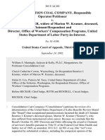 Consolidation Coal Company, Responsible Operator/petitioner v. Beatrice J. Kramer, Widow of Marion W. Kramer, Deceased, Claimant/respondent and Director, Office of Workers' Compensation Programs, United States Department of Labor Party-In-Interest, 305 F.3d 203, 3rd Cir. (2002)