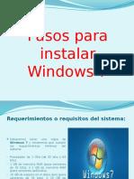 Pasos Para Instalar Windows 7