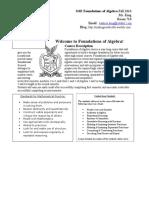 foundations of algebra syllabus fall 2016