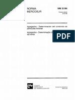 NBR NM 31 - 1994 - Agregados - Determinacao Do Teor de Particulas Leves