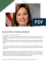 13-07-16 Tesorera de EU, se reunirá con Pavlovich. -El Sol de Mexico