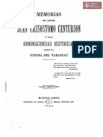 Memorias del Coronel Juan Crisóstomo Centurión o sea Reminiscencias Históricas sobre la Guerra del Paraguay Tomo Segundo, Buenos Aires año 1894