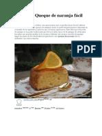 Receta de Queque de Naranja Fácil