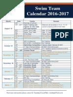 Falcons Swim Team Year Calendar 2016 - 2017