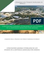 CONCESIONES MINERAS Y SUPERFICIE OTORGADA POR ESTADO Y POR SEXENIO EN MEXICO (AL AÑO 2015)