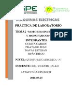 Lab Motores Sincrónicos y Monofásicos