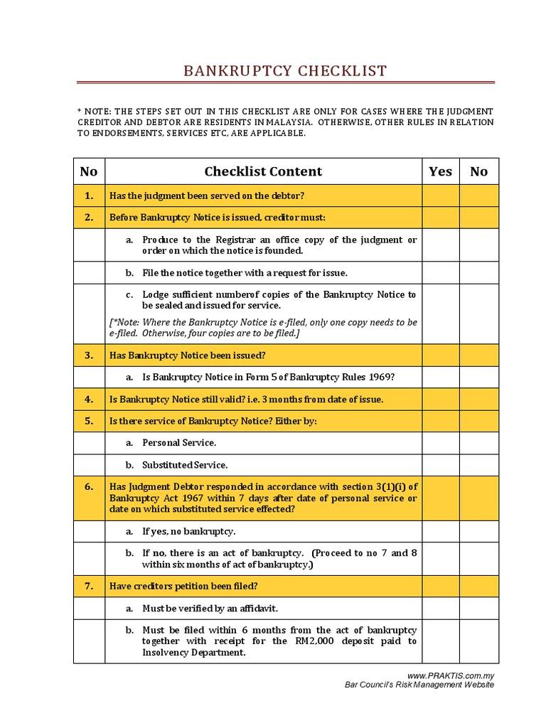 Bankruptcy Checklist Bankruptcy – Bankruptcy Worksheet