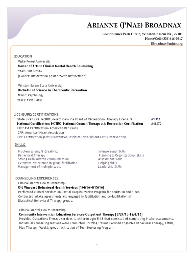 Updated Resume For Porfolio Mental Health Therapy