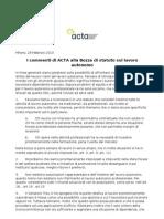 Commenti ACTA a Statuto Lavoro Autonomo