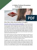 Situs Poker Online Terbaru Permainan Terlengkap