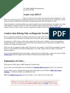 Complete List of OBD Codes | Transmission (Mechanics) | Fuel