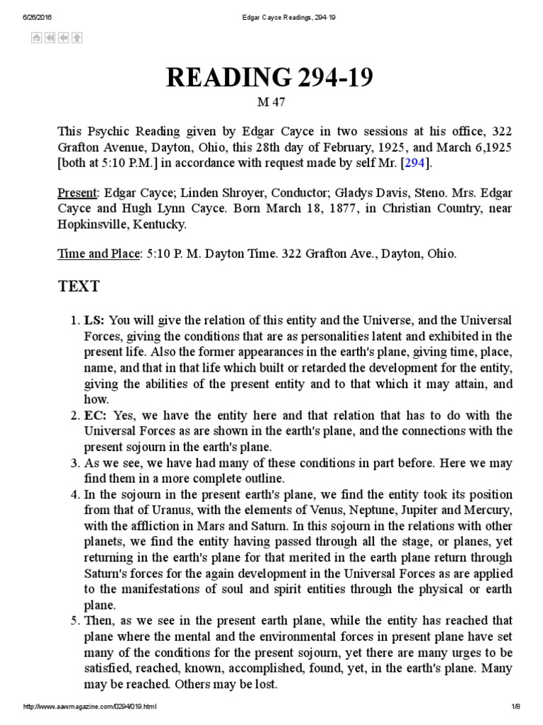 HOW HE DID IT Edgar Cayce Readings, 294-19 | Plane