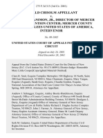 Ronald Chisolm v. Patrick McManimon Jr., Director of Mercer County Detention Center Mercer County Court, United States of America, Intervenor, 275 F.3d 315, 3rd Cir. (2001)