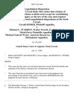 Gerald Rimer v. Michael L. Warren, Walter Powell, Jr., Third-Party Michael Gabriel Wyler, Amswiss Resources, Inc., Third Party, 909 F.2d 1484, 3rd Cir. (1990)