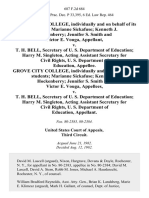 Grove City College, Individually and on Behalf of Its Students Marianne Sickafuse Kenneth J. Hockenberry Jennifer S. Smith and Victor E. Vouga v. T. H. Bell, Secretary of U. S. Department of Education Harry M. Singleton, Acting Assistant Secretary for Civil Rights, U. S. Department of Education, Grove City College, Individually and on Behalf of Its Students Marianne Sickafuse Kenneth J. Hockenberry Jennifer S. Smith and Victor E. Vouga v. T. H. Bell, Secretary of U. S. Department of Education Harry M. Singleton, Acting Assistant Secretary for Civil Rights, U. S. Department of Education, 687 F.2d 684, 3rd Cir. (1982)