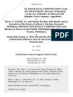 Federal Deposit Insurance Corporation, to the Use of Secretary of Banking, Receiver of Integrity Trust Company, to the Use of Butcher & Sherrerd and Fidelity-Philadelphia Trust Company v. Harry J. Alker, Jr., and Mamie Du Ban, Individually and as of the Estate of Alfred A. Du Ban, Deceased. Federal Deposit Insurance Corporation and Butcher & Sherrerd and Fidelity-Philadelphia Trust Company, Trustee v. Honorable George A. Welsh and the Other Judges of the United States District Court for the Eastern District of Pennsylvania, 234 F.2d 113, 3rd Cir. (1956)