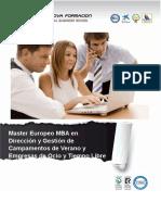 Master Europeo MBA en Dirección y Gestión de Campamentos de Verano y Empresas de Ocio y Tiempo Libre
