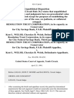 Resolution Trust Corporation, in Its Capacity as Conservator for City Savings Bank, F.S.B. v. Kent L. Welsh, Cheralyn B. Welsh, Resolution Trust Corporation, in Its Capacity as Receiver for City Federal Savings Bank, Third-Party Resolution Trust Corporation, in Its Capacity as Conservator for City Savings Bank, F.S.B. v. Kent L. Welsh, Cheralyn B. Welsh, 931 F.2d 63, 3rd Cir. (1991)