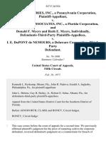 Aldon Industries, Inc., a Pennsylvania Corporation v. Don Myers & Associates, Inc., a Florida Corporation, and Donald F. Myers and Ruth E. Myers, Individually, Defendants-Third-Party v. I. E. Dupont De Nemours, a Delaware Corporation, Third-Party, 547 F.2d 924, 3rd Cir. (1977)