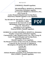 Mildred Anderson v. George H. Lanier Memorial Hospital, Surgidev Corporation, Chattahoochee Valley Hospital Society, Inc., D/B/A George H. Lanier Memorial Hospital and Nursing Home, Third-Party Plaintiff-Appellee-Cross-Appellant v. The Board of Trustees of the University of Alabama, a Body Corporate for the University of Alabama in Birmingham Hugh Davis and Howard D. Clem, Sr., Third-Party Defendants-Cross-Appellees. Floareod Hodo v. George H. Lanier Memorial Hospital, Surgidev Corporation, Chattahoochee Valley Hospital Society, Inc., D/B/A George H. Lanier Memorial Hospital and Nursing Home, Defendant-Third-Party Plaintiff-Appellee-Cross-Appellant, the Board of Trustees of the University of Alabama, a Body Corporate for the University of Alabama in Birmingham Hugh Davis and Howard D. Clem, Sr., Third-Party- Defendants- Cross-Appellees, Alabama Hospital Association Trust, Defendant-Intervenor. Jack Lindsey v. George H. Lanier Memorial Hospital, Surgidev Corporation, Chattahoochee Valle