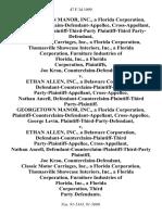 Georgetown Manor, Inc., a Florida Corporation, Plaintiff-Counterclaim-Defendant-Appellee, George Levin, Plaintiff-Third-Party Plaintiff-Third Party-Defendant, Classic Motor Carriages, Inc., a Florida Corporation, Thomasville Showcase Interiors, Inc., a Florida Corporation, Furniture Industries of Florida, Inc., a Florida Corporation, Joe Krau, Counterclaim-Defendant v. Ethan Allen, Inc., a Delaware Corporation, Defendant-Counterclaim-Plaintiff-Third Party-Plaintiff-Appellant, Cross-Appellee, Nathan Ancell, Defendant-Counterclaim-Plaintiff-Third Party-Plaintiff. Georgetown Manor, Inc., a Florida Corporation, Plaintiff-Counterclaim-Defendant-Appellant, Cross-Appellee, George Levin, Plaintiff-Third-Party-Defendant v. Ethan Allen, Inc., a Delaware Corporation, Defendant-Counterclaim-Plaintiff-Third Party-Plaintiff-Appellee, Nathan Ancell, Defendant-Counterclaim-Plaintiff-Third-Party Joe Krau, Counterclaim-Defendant, Classic Motor Carriages, Inc., a Florida Corporation, Thomasville Showcase