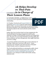 Facebook Helps Develop Software That Puts Students in Charge of Their Lesson Plans