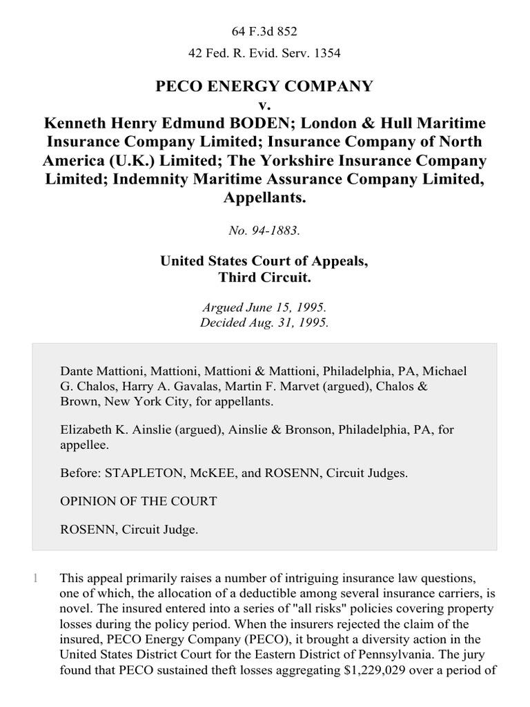 Peco Energy Company V Kenneth Henry Edmund Boden London Hull