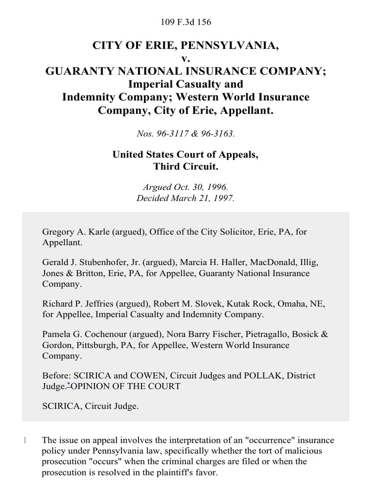 City of Erie, Pennsylvania v. Guaranty National Insurance ...