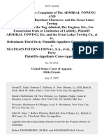 In the Matter of the Complaint of the Admiral Towing and Barge Co., as Bareboat Charterer, and the Great Lakes Towing Co., as Owner of the Tug Admiral, Her Engines, Etc., for Exoneration From or Limitation of Liability, Admiral Towing, Etc. And the Great Lakes Towing Co., Defendants-Third Party Cross-Appellants v. Seatrain International, S.A., Defendants-Third Party Cross-Appellees, 767 F.2d 243, 3rd Cir. (1985)